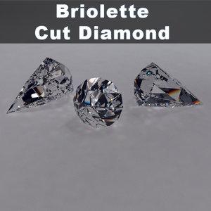 3d briolette brilliant cut diamond materials model
