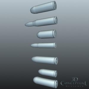 3d set bullets model