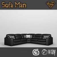 3d california corner sofa