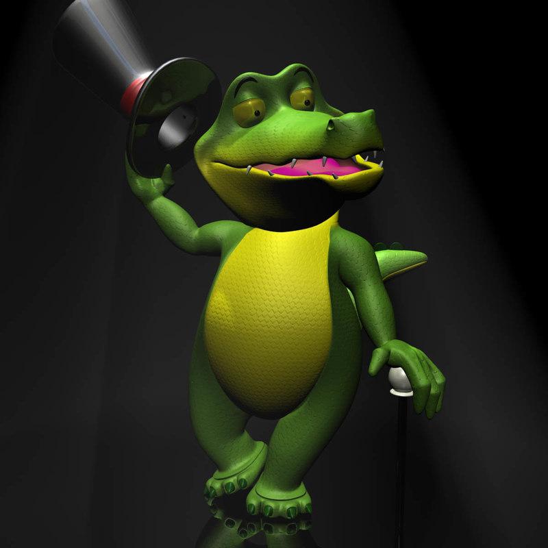 cartoon crocodile rigged 3d model