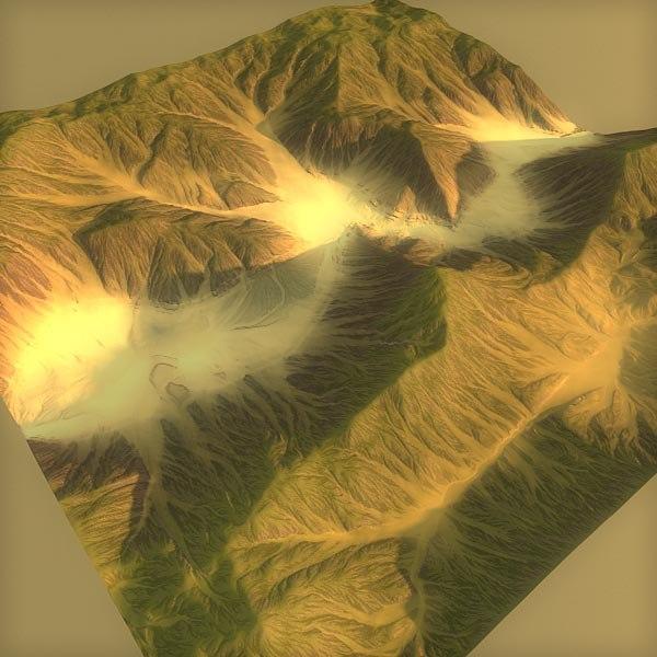 3d terrain green model