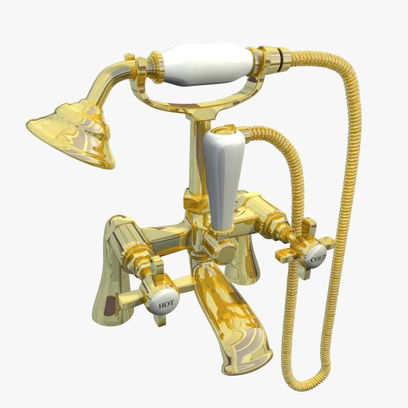 3d brass victorian shower mixer