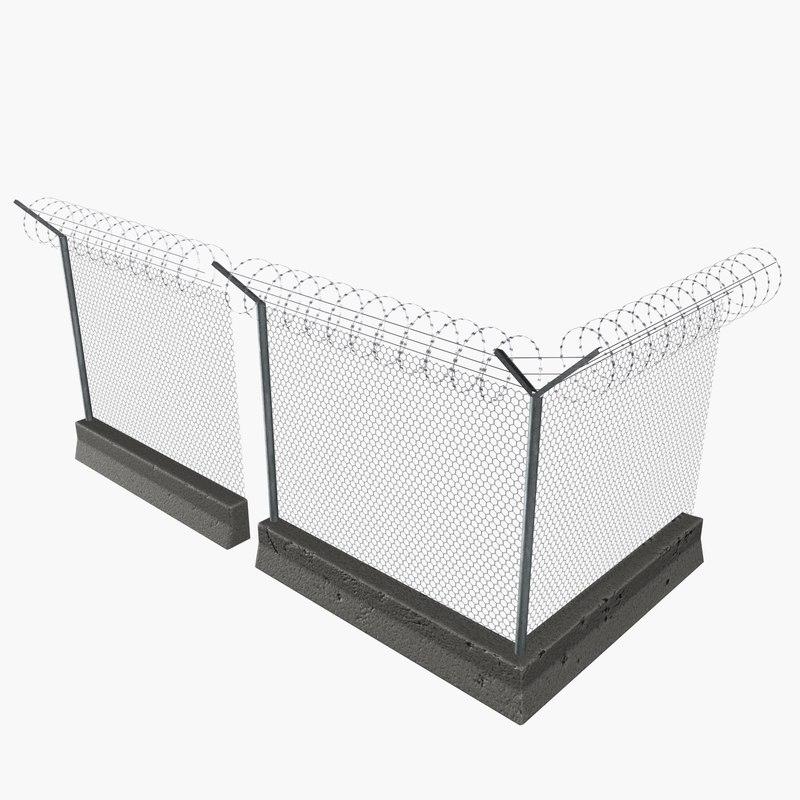 3d modular concrete wire fences model