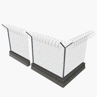 3d modular concrete wire fences model
