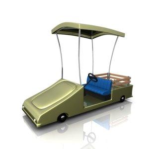 cartoony golf cart fbx