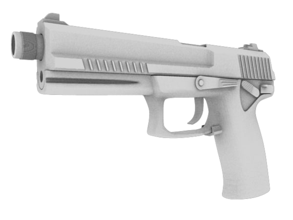 handgun module lam suppressor 3d obj