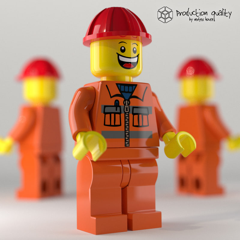 c4d lego construction worker figure