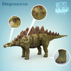 3d 3ds stegosaurus dinosaur dino