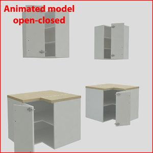3d kitchen furnitures corner 90