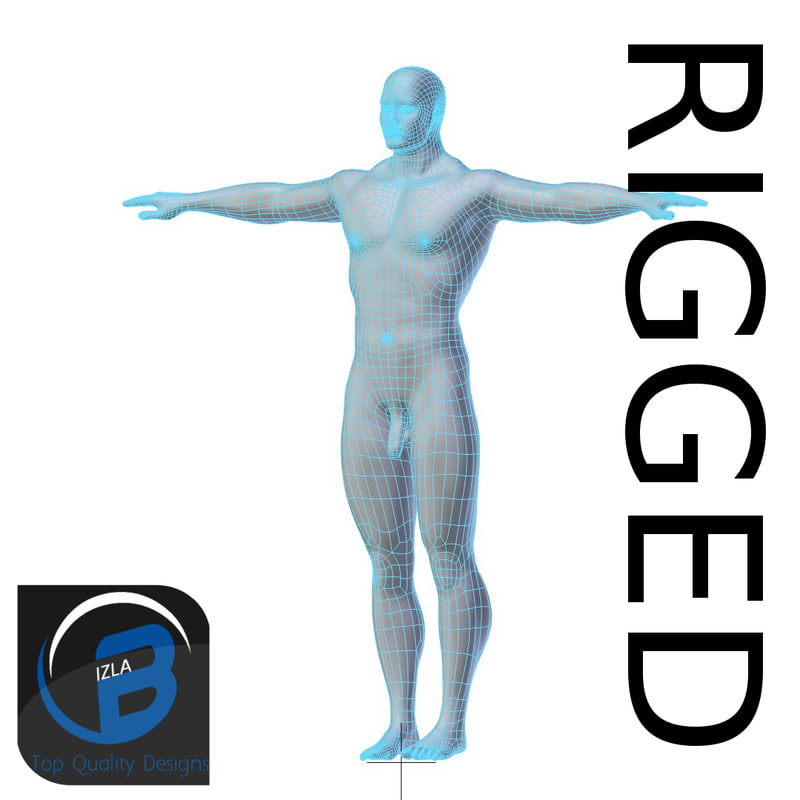rigged base mesh muscular 3d model