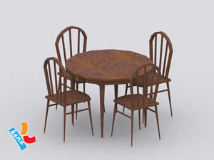 wild west table chair 3d model