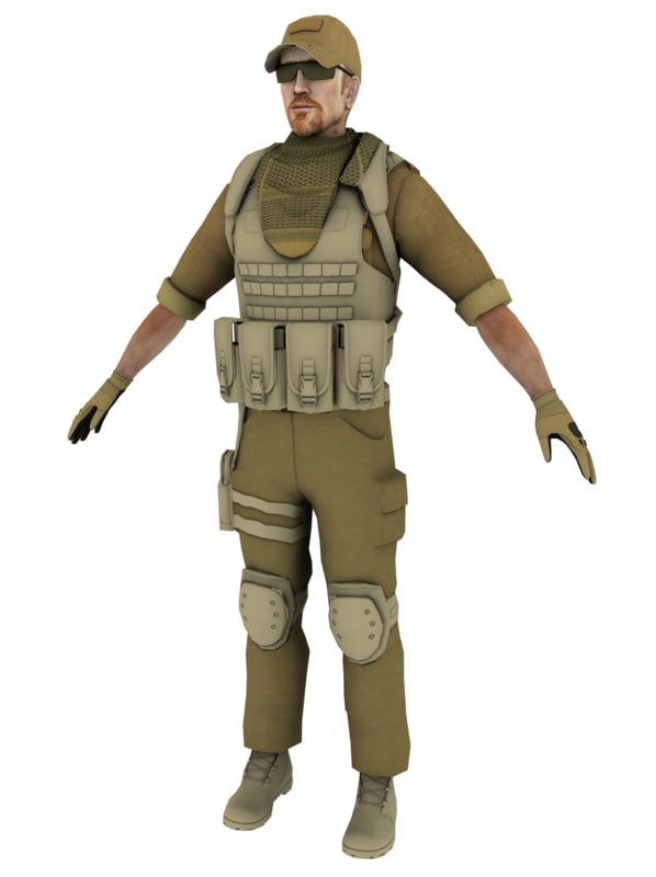 soldier rigged gaming 3d 3ds