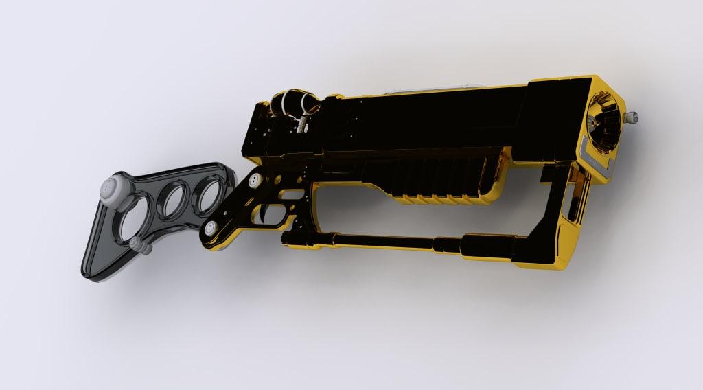 3d model futuristic rifle gun