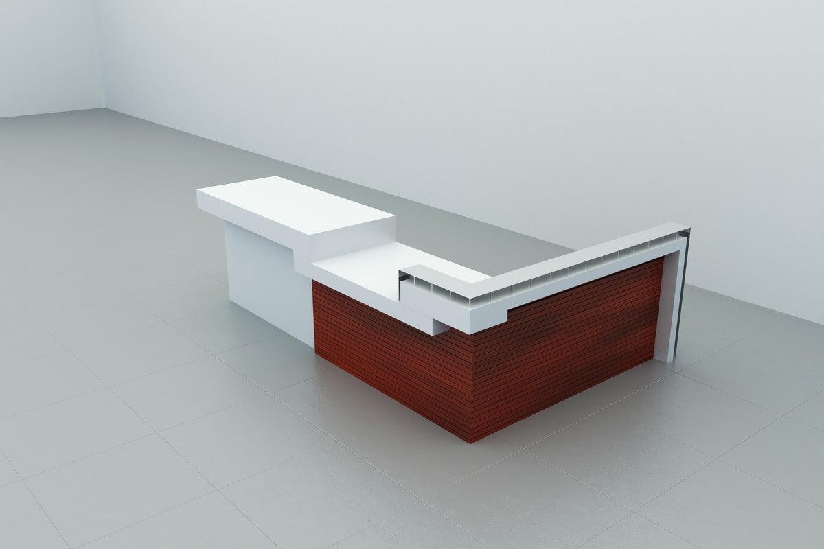 3d model modern desk reception