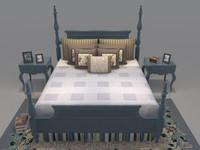 bed set mattress bedroom 3d model