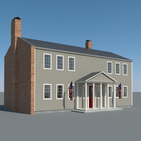 3d model colognial style house 2