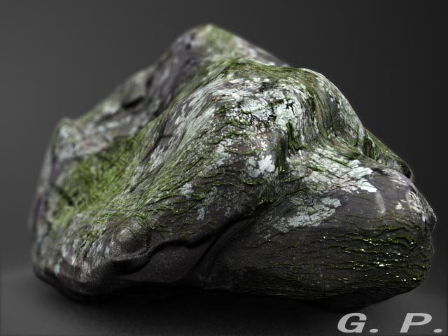 3d boulder algae
