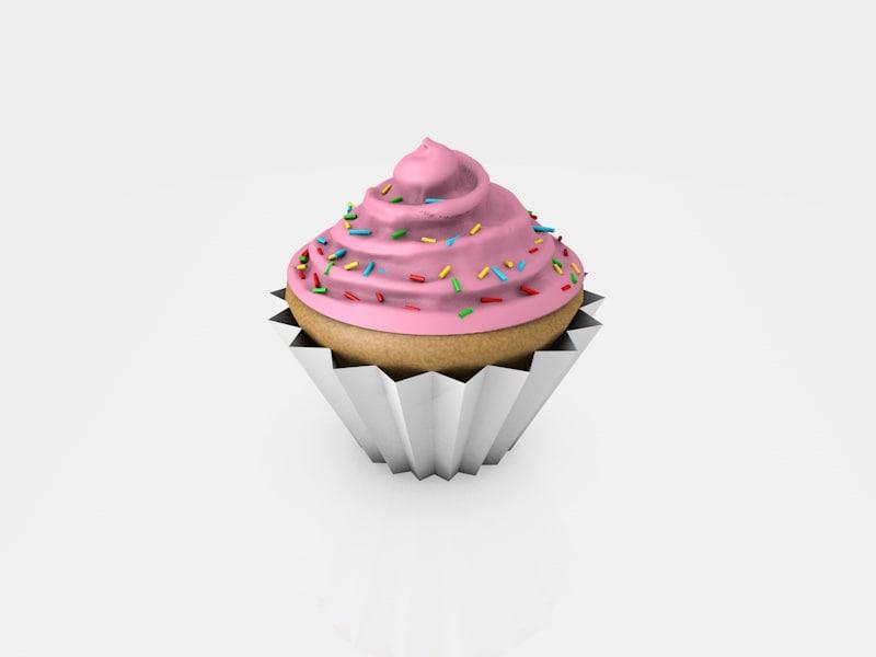 cinema4d cupcake pink frosting