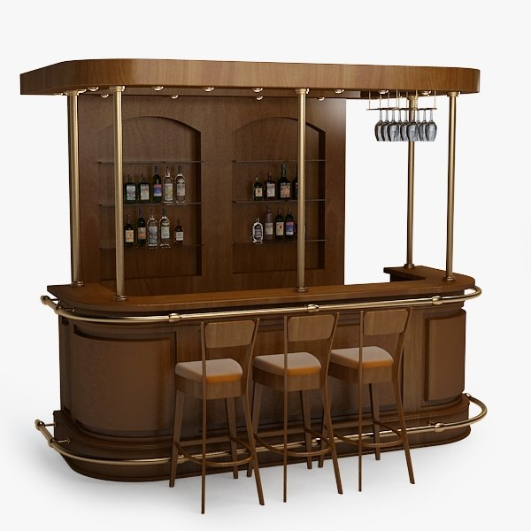 3d model bar counter for Food bar 3d model