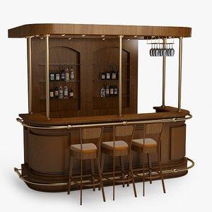 3d model bar counter