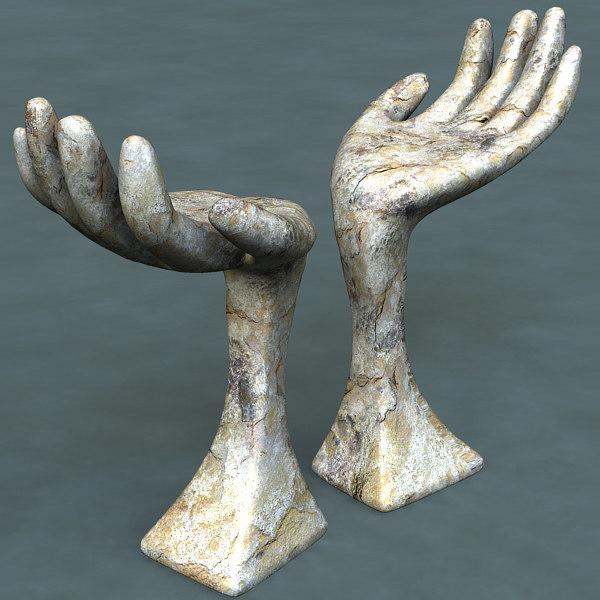 obj modern sculpture hand