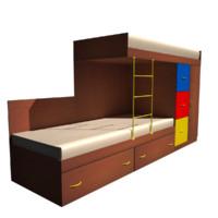 bed double kids 3d 3ds