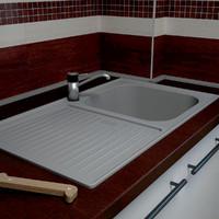 kitchen sink stainless steel 3d 3ds