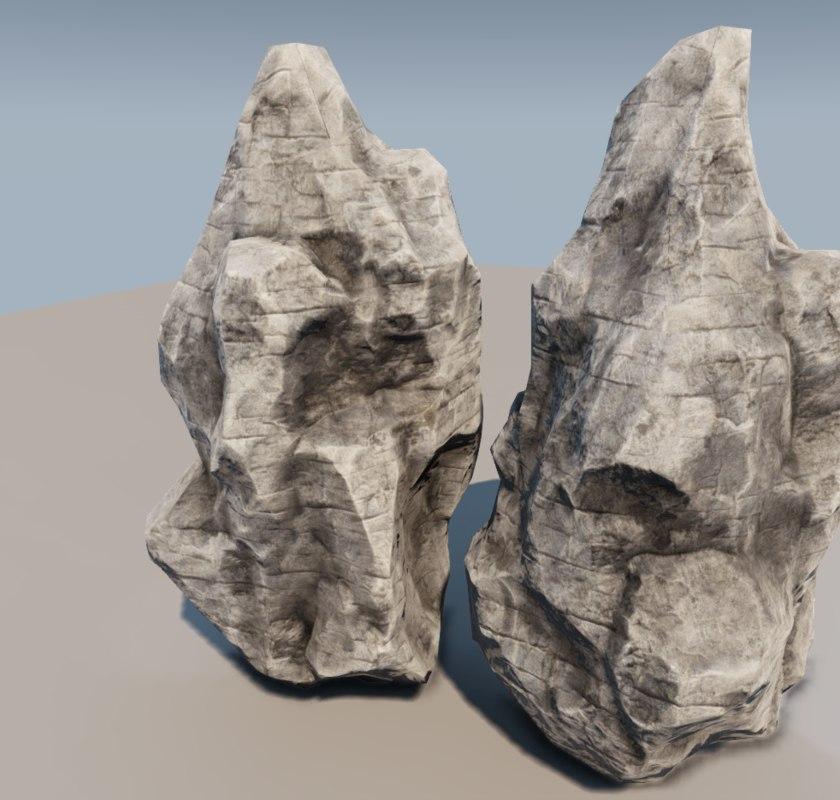 3d rocky cliffs model