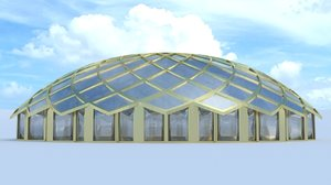 flower dome 3d obj