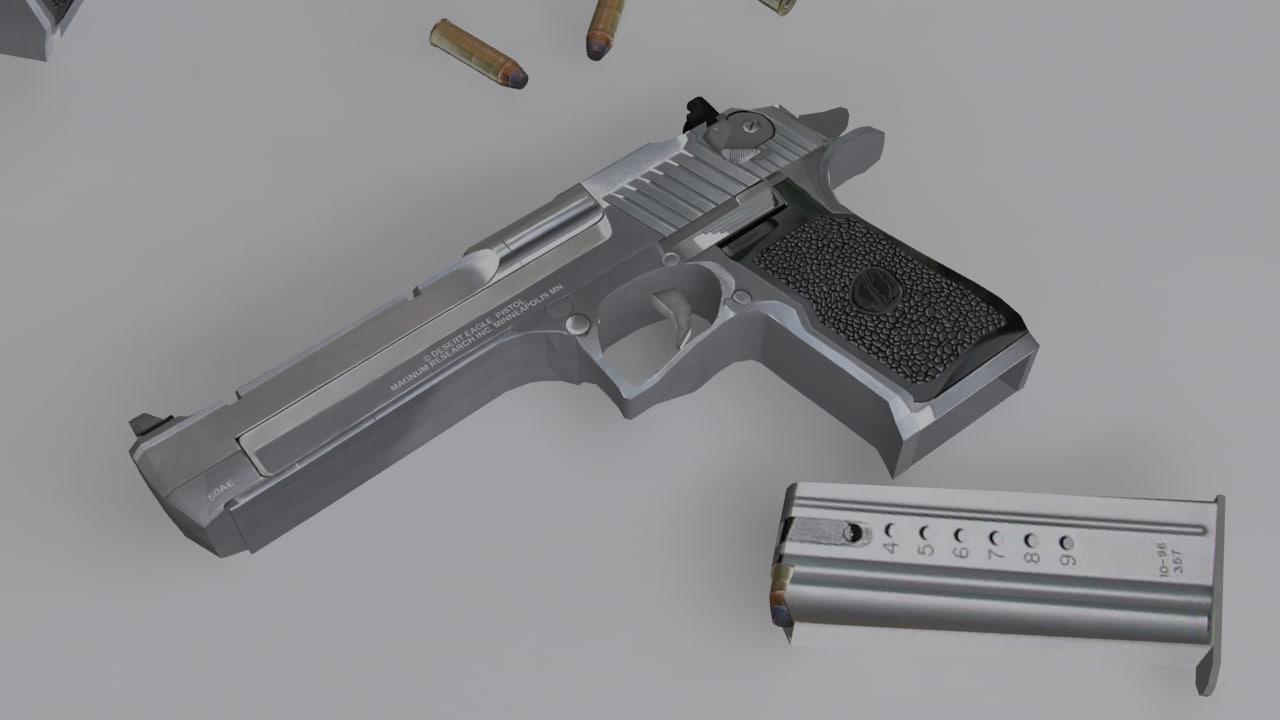 desert eagle silver black 3d model