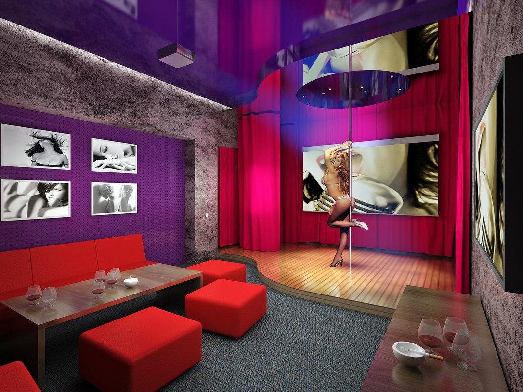 3dsmax interior strip cafe bar