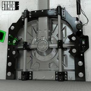 animation vault door rigged 3d x