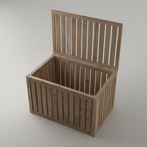 3d box wood wooden model