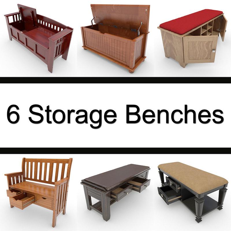 storage bench 3d model