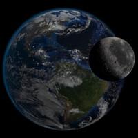 Eeath and Moon HD Photorealistic