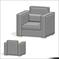 3d armchair seat model