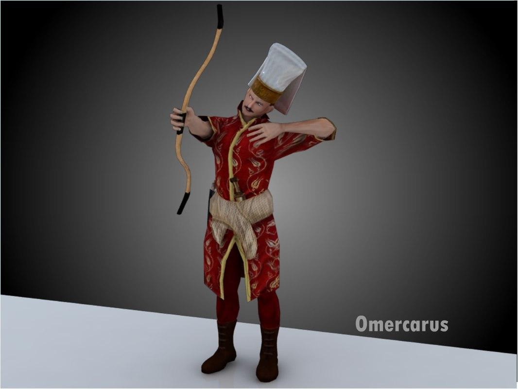 3d ottoman janissary archer model