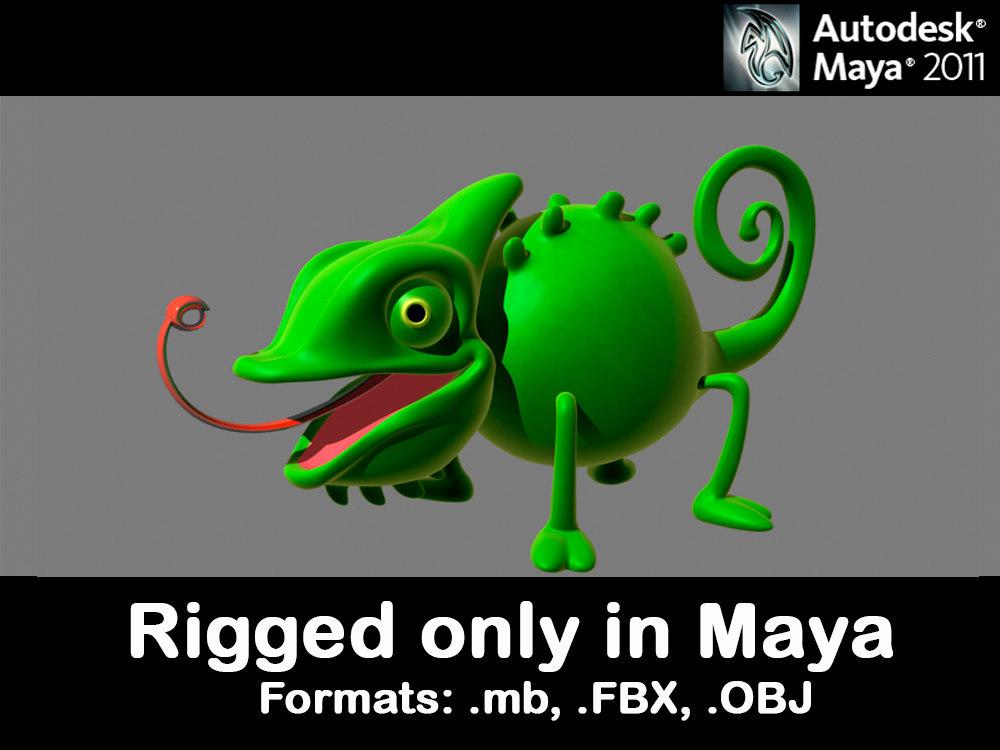 3d rigged chameleon