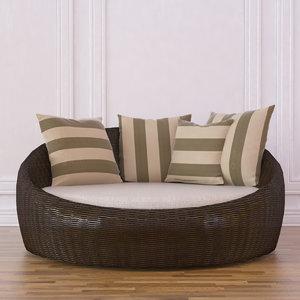 3d model circular day bed wicker