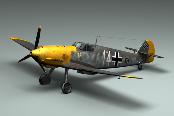 3d lwo wwii german bf109e fighter