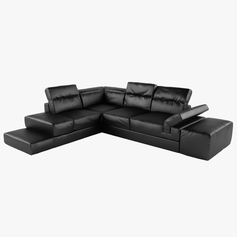 3d serafina corner sofa black leather