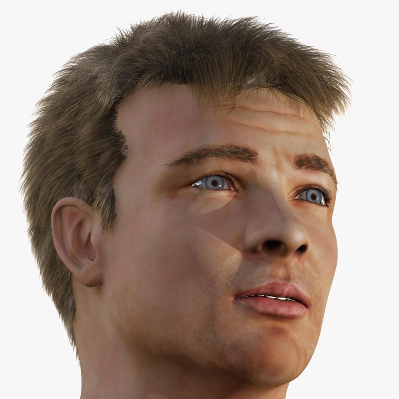male head human man 3d x