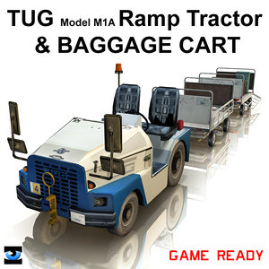 3d tug ramp tractor baggage