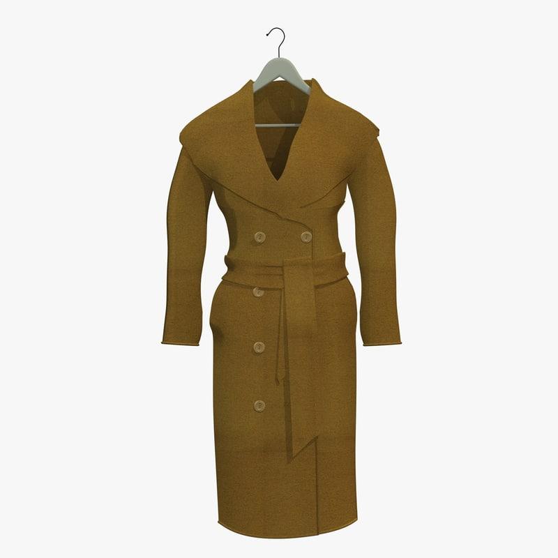 womans brown coat hanger 3d 3ds