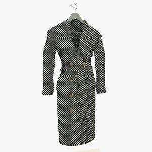 womans checkered coat hanger 3d model