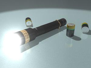 3d police flashlight volume light model