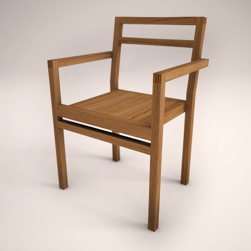 Modern wood chair with arms - 3d Wooden Design Chair
