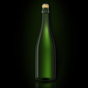3d bottle champagne model