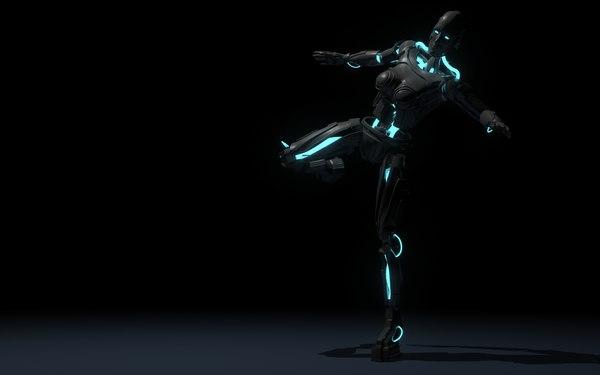 free female robot 3d model