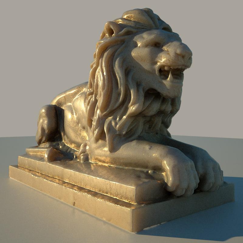 3d lion statue model